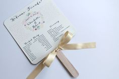 Charlotte Collection Vintage Rustic Shabby Chic Outdoor Wedding Paddle Fan Programs Order of Service - Set of 150