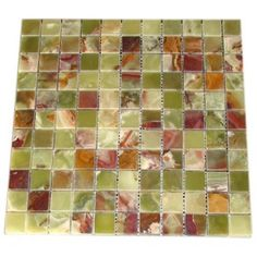 1x1 Green Onyx Polished Mosaic Tile for Kitchen Backsplash, Bathroom Flooring and Accent Wall #green_onyx_mosaic_tile #onyx_mosaic #onyx_mosaic_tile