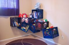 Milk crates turned toy storage
