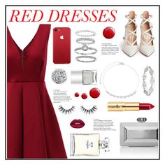 """How to Style:Red Dresses"" by belleshines ❤ liked on Polyvore featuring Gianvito Rossi, Judith Leiber, Mia Sarine, Topshop, Huda Beauty, Velour Lashes, Chanel, Smith & Cult and Nails Inc."