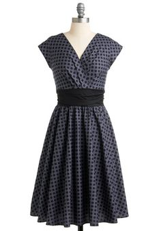 Pretty on the Park Bench Dress in Dots - Grey, Black, Polka Dots, Pleats, A-line, Cap Sleeves, Vintage Inspired, 50s, Party, Cotton, Pinup, Woven, Long