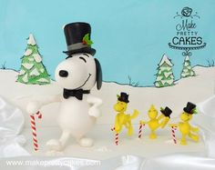 Snoopy and Woodstock Christmas cake