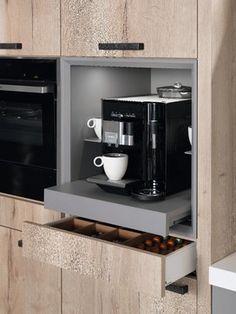Kaffeemaschine im Schrank integrieren - Schrank ideen Integrating the coffee machine in the cabinet Kitchen Pantry Cabinets, Kitchen Storage, Kitchen Appliances, Studio Kitchen, New Kitchen, Modern Kitchen Design, Interior Design Kitchen, Küchen Design, House Design