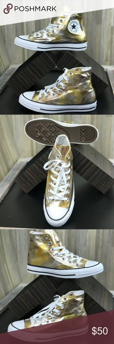 Converse Adult Fabric Metallic Gold WMNS AUTHENTIC Brand new with no lid box. Price is firm! No trades. The Converse All Star with its high profile, rubber toecap and sole, as well as the instantly recognisable silhouette is one of the most iconic footwear styles. This iteration features a metallic gold upper, contrasting white stitching and signature branding to the side. - Manmade upper - Classic rubber toe cap and outsole - Metallic Gold  colourway. Converse Shoes Sneakers