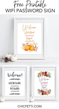Free Printable Wifi Password Signs for Thanksgiving and Fall