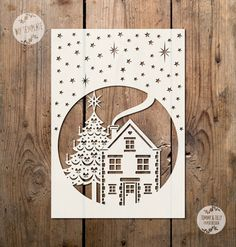 SVG / PDF Night Christmas Scene Design - Papercutting / Vinyl Template to cut yourself (Commercial Use)