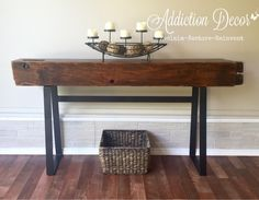 Barn beam console entry table by Addiction Decor