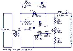 #BatteryChargerCircuit using #SCR   #Electronicscircuit   #Electricalcircuit   #Engineeringcircuit.