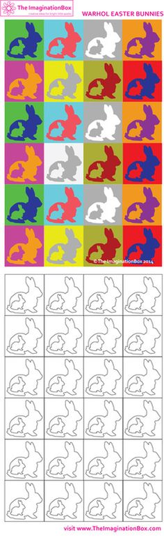 'Warhol Easter Bunnies'. Have fun exploring how colours work with each other. Free printable activity sheet available at The ImaginationBox