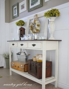 from COUNTRY GIRL HOME blog: entry table with added bottom shelf