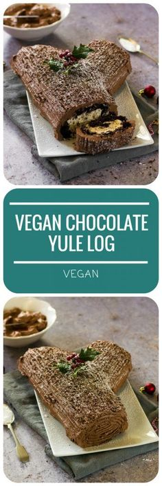 This Ultimate #Vegan Chocolate Yule Log is an indulgent, choclatey taste of #Christmas, with a whipped chestnut buttercream filling and dark chocolate buttercream 'bark'.