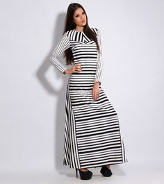 Monochrome Printed #Cotton #Long #Dress by #Debarun at #Indianroots Was $300 | Is $244