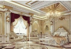Discover the Latest Beautiful Bed Designs for your bedroom at The Architecture Designs. Must visit to get more information and ideas. Castle Bedroom, Mansion Bedroom, Mansion Interior, Palace Interior, Luxury Bedroom Design, Master Bedroom Design, Luxury Home Decor, Master Bedrooms, Interior Design
