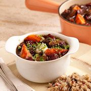 A fresh take on classic beef stew. This recipe contains dried cherries!
