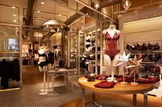 I have been collecting lots of photos of ideas for Lingerie stores and thought I should share them with you all. Lingerie Store Design, Lingerie Stores, Oysho Lingerie, Underwear Store, Boutique Interior Design, Retail Merchandising, Store Interiors, Shop Front Design, Retail Space
