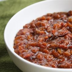 Trisha Yearwood's Baked Beans recipe: WOW, they are hands down THE best baked beans I have ever had. Might be the whole pound of bacon. Baked Beans Crock Pot, Best Baked Beans, Baked Bean Recipes, Crockpot Recipes, Cooking Recipes, Beans Recipes, Baked Beans With Bacon, Cowboy Baked Beans, What's Cooking