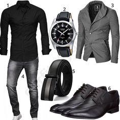 Herren Business-Outfit mit schwarzem Kayhan Hemd, Casio Armbanduhr, grauem Moderno Sakko und A. Komplette Outfits, Casual Outfits, Men Casual, Casual Winter, Smart Casual, Men's Business Outfits, Business Fashion, Business Style, Business Casual