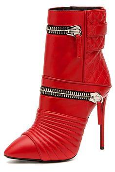 Giuseppe Zanotti Red High Heels Bootie | www.ScarlettAvery.com