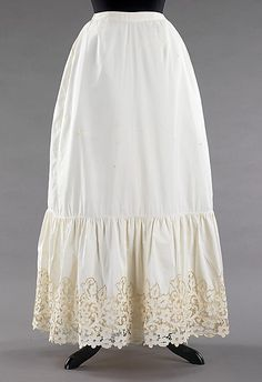 Petticoat  Date: 1890–99 Culture: American Medium: cotton Dimensions: Length at CB: 37 1/2 in. (95.3 cm) Credit Line: Brooklyn Museum Costume Collection at The Metropolitan Museum of Art, Gift of the Brooklyn Museum, 2009; Gift of Mrs. Charles C. Harris, 1968 Accession Number: 2009.300.3325