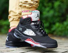 "On-Feet Photos of the Supreme x Air Jordan 5 ""Black"" 1"
