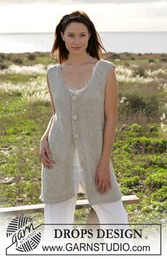 "DROPS long vest knitted in garter sts with ""Bomull-Lin"" and buttons in ""Cotton Viscose"" ~ DROPS Design"