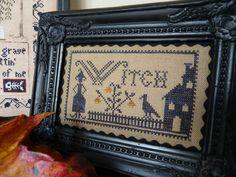 fancy black frame-Halloween witch cross stitch