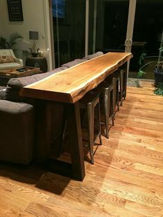 Behind Couch Table Bar.Our Family Room - Livin' On The Edge Family Room . Living Room Table With Stools Bar Table Behind Couch Bar . Home Design Ideas Live Edge Wood, Live Edge Table, Live Edge Bar, Home Bar Table, Dining Table, Table Seating, Bar Table Diy, Round Dining, Outdoor Dining
