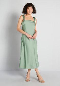 Cotton Dresses, Cute Dresses, Vintage Dresses, Dresses For Work, Romantic Dresses, Green Midi Dress, Floral Midi Dress, Bias Cut Dress, Modcloth