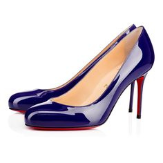 """Feminine and timeless """"Fifi"""" is a single sole must-have for the Louboutin lady. Her round toe and slender 85mm heel provide a sophisticated silhouette that is perfect for a day in the office or an evening out on the town. Try her in regal encre patent leather for an updated Spring/Summer staple."""
