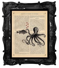 Upcycled Dictionary Page Upcycled Book Art Upcycled Art Print Upcycled Book Print Vintage Art Print Opposites Attract Octopus and Fish. $10.00, via Etsy.