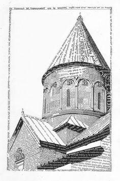 """Geghart"" ~ Daniel Jacob Horine ~   an Armenian monastery, geghart, made out of Armenian text.     (art, painting, fine artist, illustrator, graphic designer, motionographer, designer, drawing)"