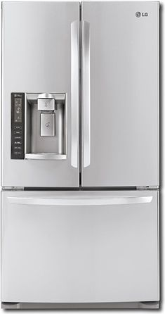 LG - 19.8 Cu. Ft. Counter-Depth French Door Refrigerator - Stainless-Steel - Front_Standard