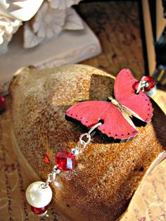 Pink Butterfly Bracelet with Swarovski Crystals by RebeccasWhims, $14.95