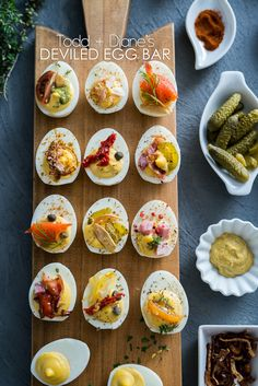 Best deviled egg recipe for brunch, breakfast and easter. This deviled egg bar has tons of ideas for different deviled egg toppings. Recipe for deviled eggs Devilled Eggs Recipe Best, Best Deviled Eggs, Deviled Eggs Recipe, Egg Recipes, Brunch Recipes, Appetizer Recipes, Cooking Recipes, Breakfast Recipes, Appetisers