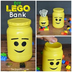 to Make a LEGO Bank Do your kids love saving their money? Here are step-by-step instructions on how to make a LEGO bank that will hold all of their treasures.Your Money or Your Life Your Money or Your Life may refer to: Lego Projects, Projects For Kids, Diy For Kids, Gifts For Kids, Diy Xmas Gifts, Christmas Crafts, Lego Super Mario, Lego Gifts, Lego Table