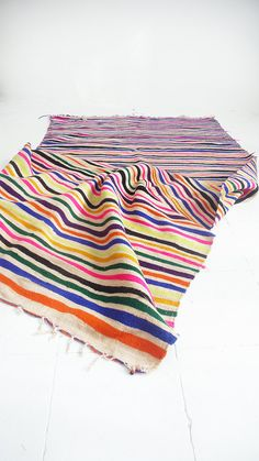 Vintage Moroccan Wool Rug Neon Stripes by lacasadecoto on Etsy Carpets, Rugs On Carpet, Moroccan Rugs, Home Rugs, Marrakech, Kilim Rugs, Bohemian Style, Wool Rug, Entryway