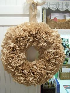 Highly ruffled coffee filter wreath!