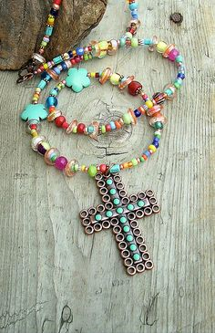 Boho Colorful Cross Necklace Colorful Beads Cross by BohoStyleMe