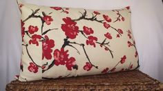 Pillow Cover 20x30 Red Flowering Chinese Quince Floral Print on Cream Background. Accented with  3 Fabric Covered Buttons