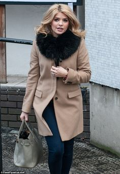 Chic in camel: Holly Willoughby looked cosy as she left the ITV Studios in London--- Love the coat!