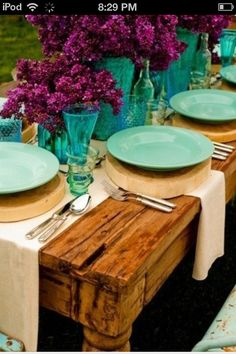 Those would be nice centerpieces for a western teal and purple wedding.