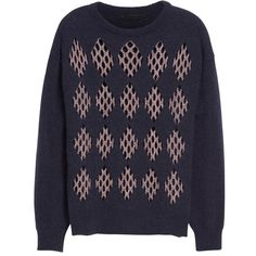 Women's Alexander Wang Lurex & Wool Blend Argyle Sweater ($895) ❤ liked on Polyvore featuring tops, sweaters, alexander wang, lurex sweaters, lurex top, argyle sweater and shimmer tops