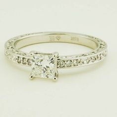 18K White Gold Delicate Antique Scroll Ring - Set with a 0.70 Carat, Princess, Ideal Cut, H Color, SI1 Clarity Diamond #BrilliantEarth