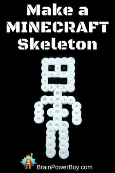 Use this easy Perler Bead Pattern to Make a Minecraft Skeleton. Use this easy Perler Bead Pattern to Make a Minecraft Skeleton. Perler Bead Designs, Easy Perler Bead Patterns, Melty Bead Patterns, Beading Patterns, Jewelry Patterns, Loom Patterns, Bracelet Patterns, Jewelry Ideas, Crochet Patterns