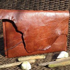 13 inch Bruin Leren Mac Book Laptop Hoes met Ruwe Rand