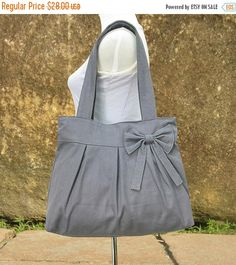 On Sale 10% off - Gray canvas tote bag, fabric shoulder bag for women