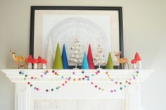 Multi-colored Felt Ball Garland