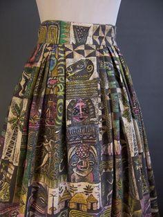 1950s artist novelty print barkcloth skirt by Aaron Bohrod, Associated American…