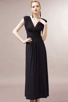 Black Ruched V-neck Open Back Maxi Dress #Black #Dress #maykool