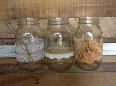 Mason Jar Centerpieces, Set of 5, Rustic Wedding Decor on Etsy, $36.50